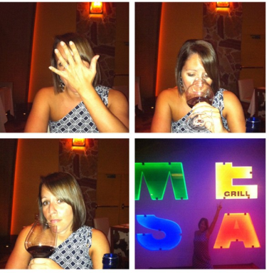 Being goofy with snotty wine faces at Mesa ;-)